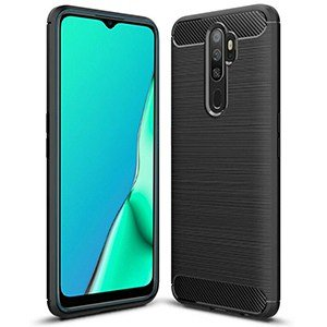Oppo A9 2020 Case Carbon Fiber Shockproof Anti Knock Matte Heavy Duty Cover