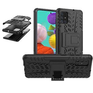 Samsung Galaxy A51 Shockproof Heavy Duty Tough Rugged Case Cover (Black)