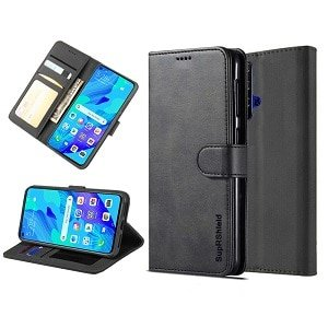 Huawei Nova 5T Genuine SupRShield Wallet Leather Flip Stand Case Cover (Black)