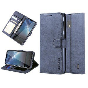 Nokia 2.2 Genuine SupRShield Wallet Leather Flip Stand Case Cover (Navy Blue)