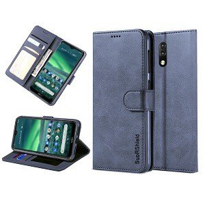 Nokia 2.3 Genuine SupRShield Wallet Leather Flip Stand Case Cover (Navy Blue)