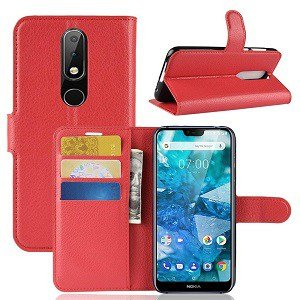 Nokia 7.1 Genuine Wallet Leather Flip Stand Case Cover (Red)
