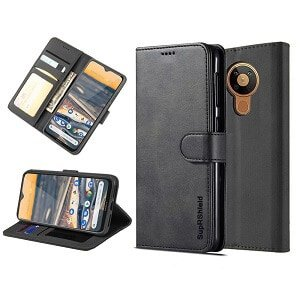 Nokia 5.3 Genuine SupRShield Wallet Leather Flip Stand Case Cover (Black)