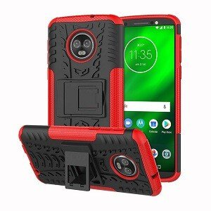 Motorola Moto E5 Rugged Case Heavy Duty Tough Shockproof Cover (Red)