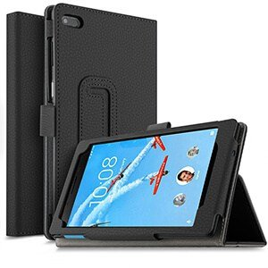 Lenovo tab E7 E8 Leather Case Smart Folio Stand Cover (Black)