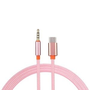 Type C to 3.5mm AUX Cable USB-C to AUX Audio Cord Adapter For Car Stereo (Rose Gold)