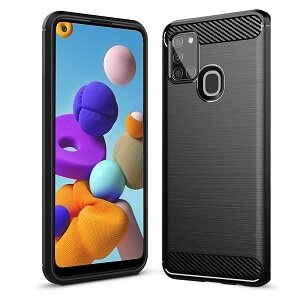 Samsung Galaxy A21s Shockproof Case Carbon Fiber Heavy Duty Cover