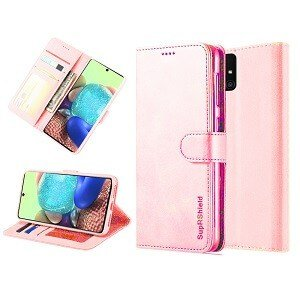 Samsung Galaxy A71 5G Wallet Flip Case Leather Card Slots Cover (Rose Gold)