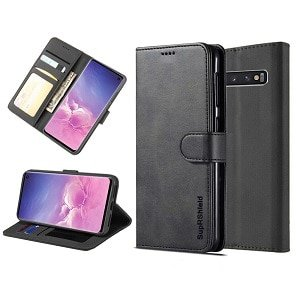 Samsung Galaxy S10 Wallet Case Flip Leather Card Slots Cover (Black)