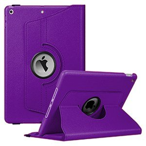 iPad 7th Gen Leather Case 360 Degree Rotating Smart Stand Cover (Purple)