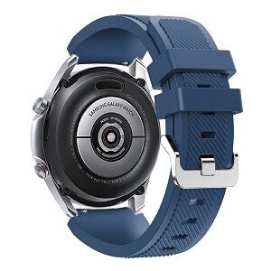 For Samsung Galaxy Watch 3 45mm Silicone Replacement Bracelet Strap Wrist Band Wristband (Navy Blue)