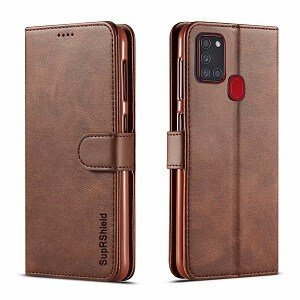 Samsung Galaxy A21s Wallet Flip Case Leather Card Slots Cover (Coffee)