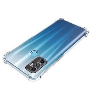 Oppo A53 Clear Case Shockproof Tough Gel Transparent Air Cushion Heavy Duty Cover (Transparent).