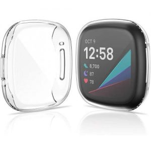 Fitbit Versa 3 Fitbit Sense Gel Case Premium Soft Protective Silicone Cover (Clear)