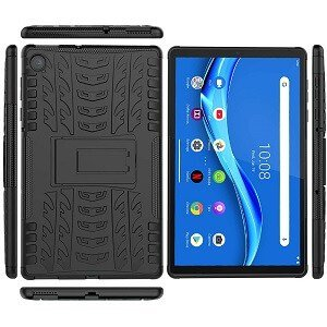 For Lenovo Tab M10 FHD Plus 10.3″ 2nd Gen Heavy Duty Tough Kickstand Strong Case Cover (Black) (2)