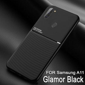 For Samsung Galaxy A11 Business Style Luxury Matte Soft Silicone Drop Resistant Case Cover (Black)