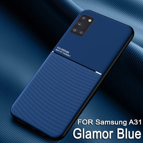 For Samsung Galaxy A31 Business Style Luxury Matte Soft Silicone Drop Resistant Case Cover (Blue)