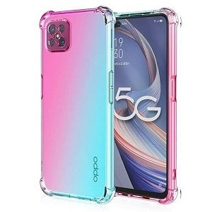 Oppo Reno4 Z 4G & 5G Clear Case Shockproof Tough Transparent Anti knock Heavy Duty Cover (Aqua+Pink)