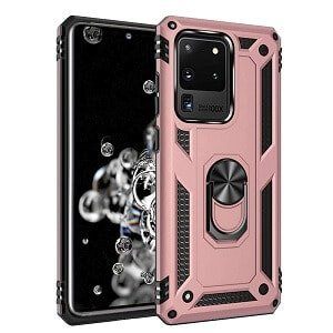 Samsung Galaxy S20 Ultra Heavy Duty Shockproof Magnetic Ring Cover Case (Rose Gold)