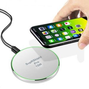 15W Qi Wireless Fast Charger Charging High Quality Pad SupRShield Charger (White)