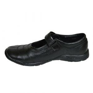 Black Embroidered Original Leather Cow Hide School Shoe For Girls Children.