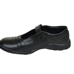Original Leather Black Dotted Cow Hide School Shoe For Girls Children