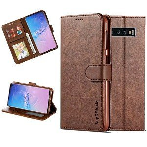 Samsung Galaxy S10 Wallet Case Flip Leather Card Slots Cover (Coffee)