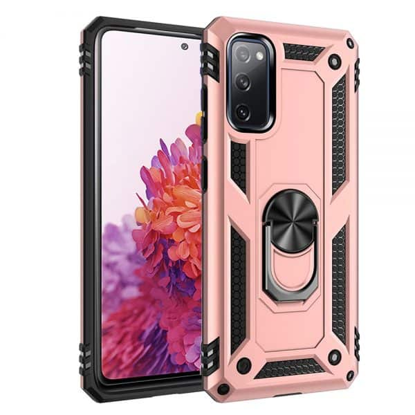 Samsung Galaxy S10E Heavy Duty Shockproof Magnetic Ring Cover Case (Rose Gold)