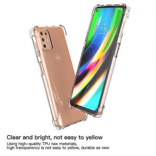 Motorola Moto G9 Plus Clear Gel Case Air Cushion Transparent Silicone Heavy Duty Shockproof Cover (Transparent)...