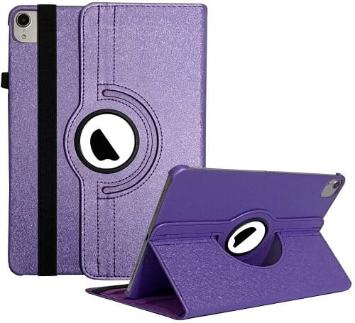 "Apple iPad Air 4 4th Gen 10.9"" 2020 Smart Case Cover, Leather Rotating 360 Degree Stand Smart Cover (Purple)"