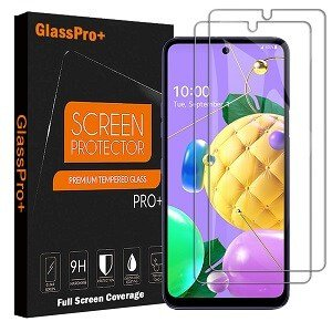 (2 Pcs) For LG K52 Full Coverage Tempered Glass Screen Protector Anti Scratch Guard (Clear)