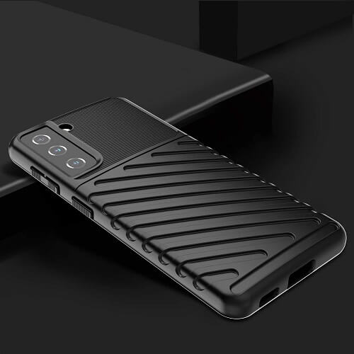 For Samsung Galaxy S21 Back Case Shockproof Heavy Duty Absorption Anti Scratch Durable Drop Protection Phone Armor Cover (Black)