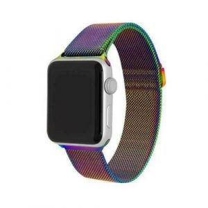For Fitbit Versa 3 Magnetic Milanese Band Loop Mesh Wristband Strap Bracelet (Rainbow)