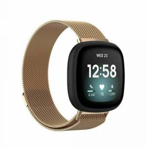 For Fitbit Versa 3 Magnetic Milanese Band Loop Mesh Wristband Strap Bracelet (Rose Gold)