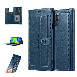 Xiaomi Redmi Note 9 Wallet Case Shockproof Flip Leather Card Slots Magnetic Stand Cover (Navy Blue)