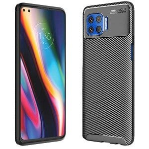 Motorola Moto G 5G Plus Rugged Shockproof Case Carbon Fiber Heavy Duty Rugged Cover (Black)