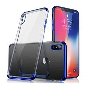 Apple iPhone X/XS Plating Ultra Slim Clear Gel Bumper Case Cover (Blue)