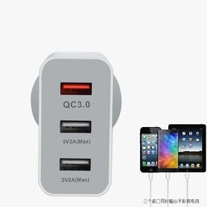 Fast Charging QC3.0 25W 3 USB Ports AC Plug Wall Charger Power Adapter