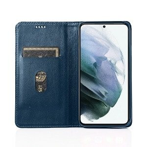 Samsung Galaxy S21 5G SupRShield Wallet Leather Card Holder Flip Protective Shockproof Magnetic Case Cover (Navy Blue Style 2)