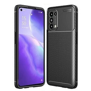 Oppo Find X3 Lite Rugged Shockproof Case Carbon Fiber Heavy Duty Rugged Cover (Black)