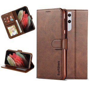 Samsung Galaxy S21 Ultra SupRShield Wallet Leather Card Holder Flip Protective Shockproof Magnetic Case Cover (Coffee)
