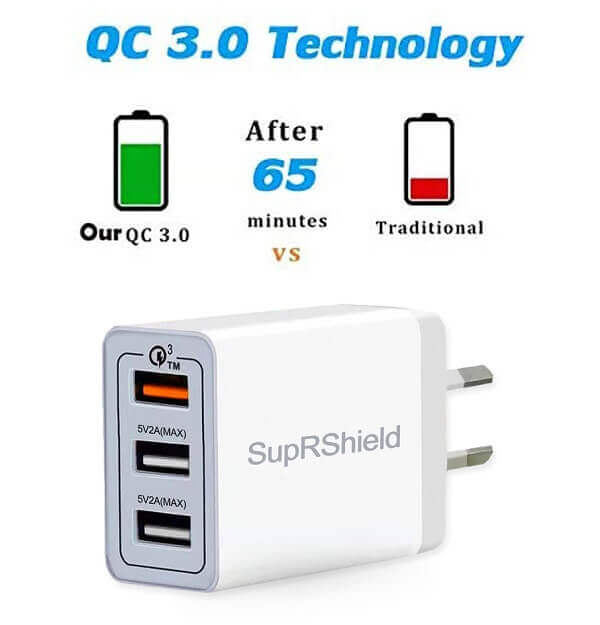 25W 3 USB Ports Fast Charging QC3.0 AC Plug Wall Charger Power Adapter
