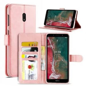 Nokia C1 Plus Wallet Case Flip Leather Magnetic Stand Cover (Rose Gold)