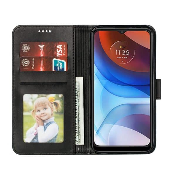 Motorola Moto E7 Power Wallet Case Flip Leather Card Slots Magnetic Stand Cover (Black)