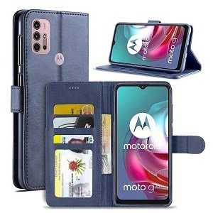 Motorola Moto G30 Wallet Case Flip Leather Card Slots Magnetic Stand Cover (Navy Blue)