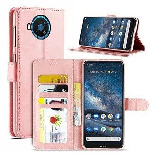 Nokia 8.3 5G Wallet Case Flip Leather Card Slots Cover (Rose Gold)