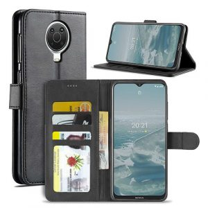 Nokia G20 Wallet Case Flip Leather Card Slots Magnetic Stand Cover (Black)