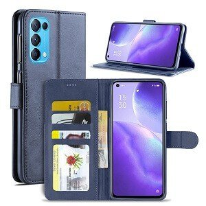 Oppo Find X3 Lite Wallet Case Flip Leather Card Slots Cover (Navy Blue)