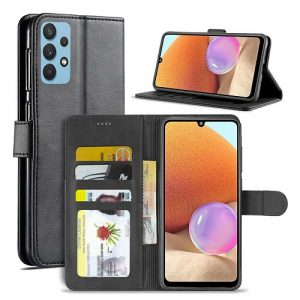 Samsung Galaxy A32 4G Wallet Case Flip Leather Card Slots Magnetic Stand Cover (Black)