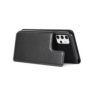Samsung Galaxy A32 SupRShield Wallet Leather Card Holder Flip Protective Shockproof Magnetic Case Cover (Black Style 2)